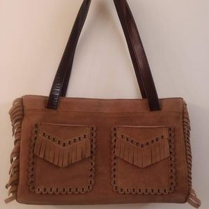New Suede Leather Fringe Handbag By BCBCMAXAZARIA